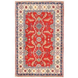 Handmade One-of-a-Kind Vegetable Dye Kazak Wool Rug (Afghanistan) - 1'11 x 3'1