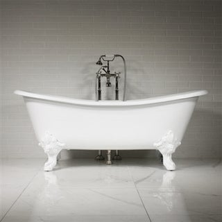 The Leonard 73 inch Cast Iron French Bateau Tub Package