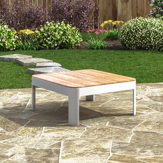 Harper Blvd Camelia Aluminum & Teak Outdoor Square Cocktail Table