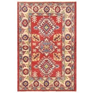 Herat Oriental Afghan Hand-knotted Vegetable Dye Kazak Wool Rug (2' x 3'1)