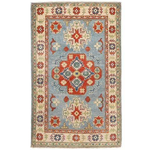 Handmade One-of-a-Kind Vegetable Dye Kazak Wool Rug (Afghanistan) - 2'7 x 4'2