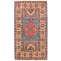 Handmade Herat Oriental Afghan Vegetable Dye Kazak Wool Rug (Afghanistan) - 1'10 x 3'3