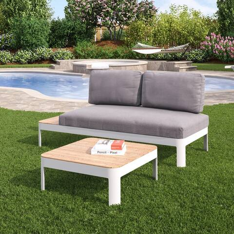 Camelia 2pc Aluminum Outdoor Convertible Lounger/Modular Conversation Set w/ Cushions and Teak Table