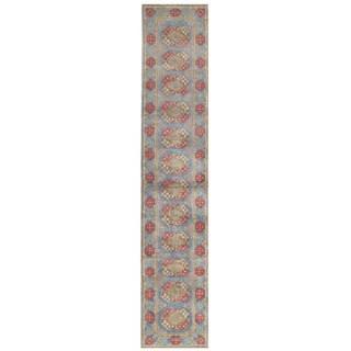 Herat Oriental Afghan Hand-knotted Transitional Turkoman Wool Runner (2'6 x 12'9)