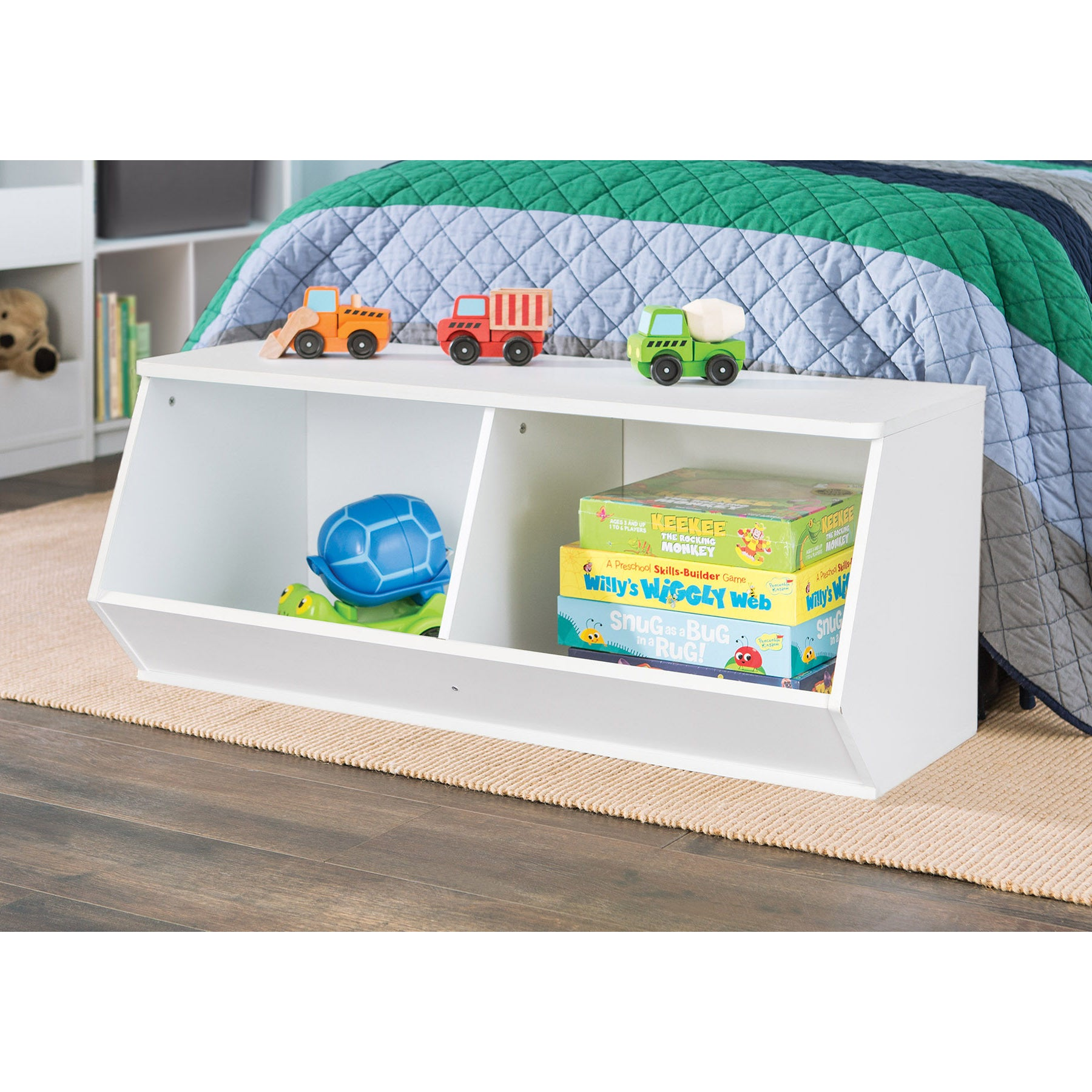 Gentil ClosetMaid KidSpace White Stackable Angled Toy Organizer