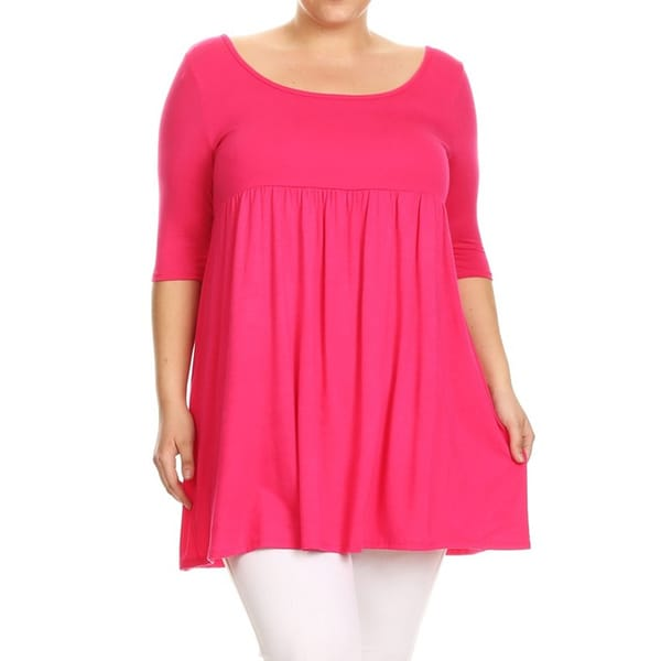 Shop Womens Plus Size Hot Pink Tunic Dress On Sale Free