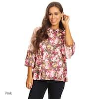 Women's Floral Pattern Lace Trim Tunic