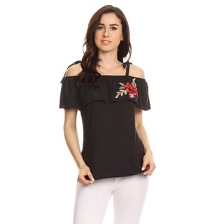 Women's Solid Floral Embroidery Flounce Tunic