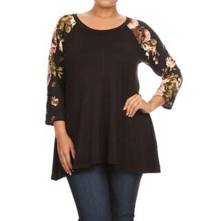 Women's Plus Size Floral Raglan Sleeve Tunic
