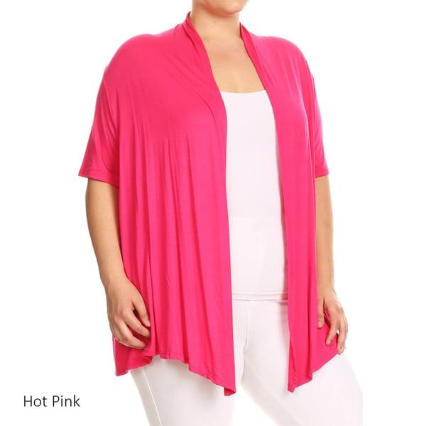 Women's Plus Size Solid Open Cardigan