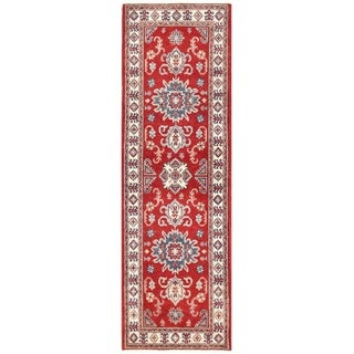 Herat Oriental Afghan Hand-knotted Vegetable Dye Tribal Kazak Wool Runner (2'1 x 6'9)