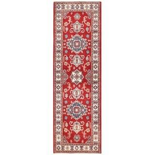 Herat Oriental Afghan Hand-knotted Vegetable Dye Tribal Kazak Wool Runner (2'1 x 6'9)