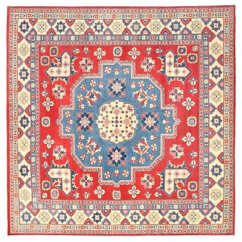 Handmade Herat Oriental Afghan Vegetable Dye Tribal Kazak Wool Rug - 12'8 x 12'8 (Afghanistan)