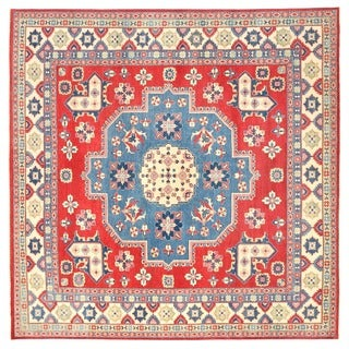 Herat Oriental Afghan Hand-knotted Vegetable Dye Tribal Kazak Wool Rug (12'8 x 12'8)
