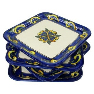 Le Souk Ceramique RY37 Stoneware Square Plates, Set of 4, Riya