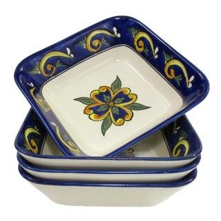 Le Souk Ceramique RY38 Stoneware Square Pasta/Salad Bowls, Set of 4, Riya