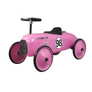 Shelby Cobra Stamped Steel Metal Racer Foot To Floor Ride On Car in Pink