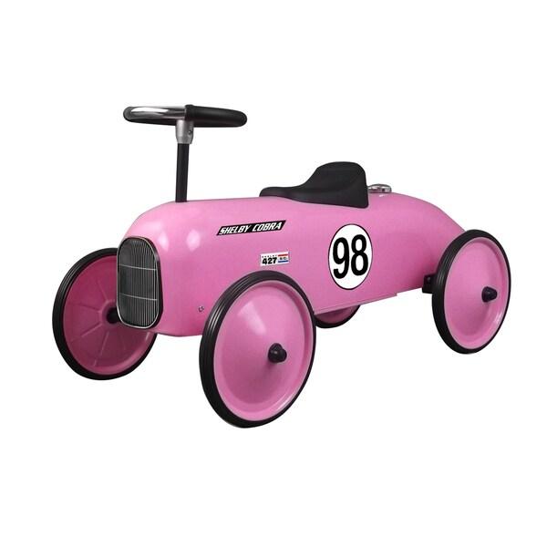 Shelby Cobra Stamped Steel Metal Racer Foot To Floor Ride On Car in Pink