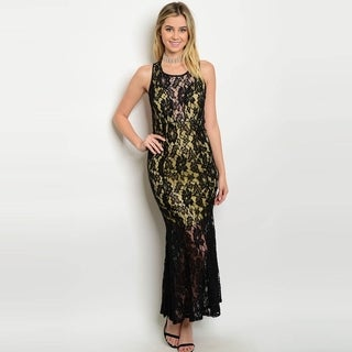 Shop The Trends Women's Sleeveless Sheer Lace Maxi Dress With Colored Lining And Round Neckline