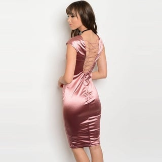 Shop The Trends Women's Sleeveless Bodycon Midi Dress With Lace Up Back And Plunging Neckline