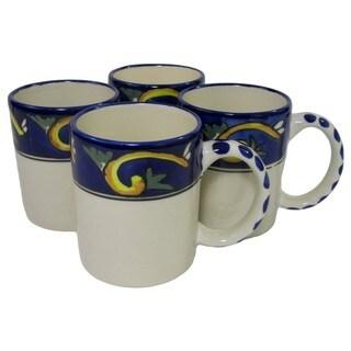 Le Souk Ceramique RY53 Stoneware Coffee Mugs, Set of 4, Riya