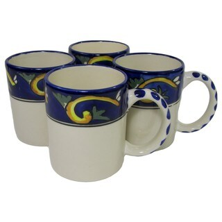 Le Souk Ceramique RY53 Stoneware Coffee Mugs, Set of 4, Riya