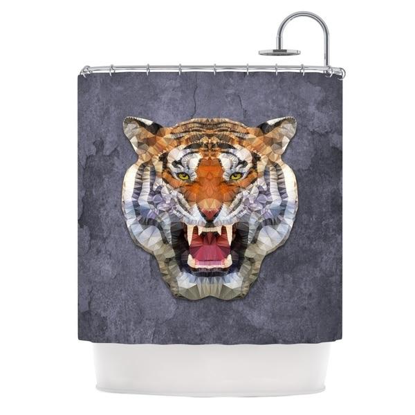 KESS InHouse Ancello Abstract Tiger Gray Orange Shower Curtain (69x70)