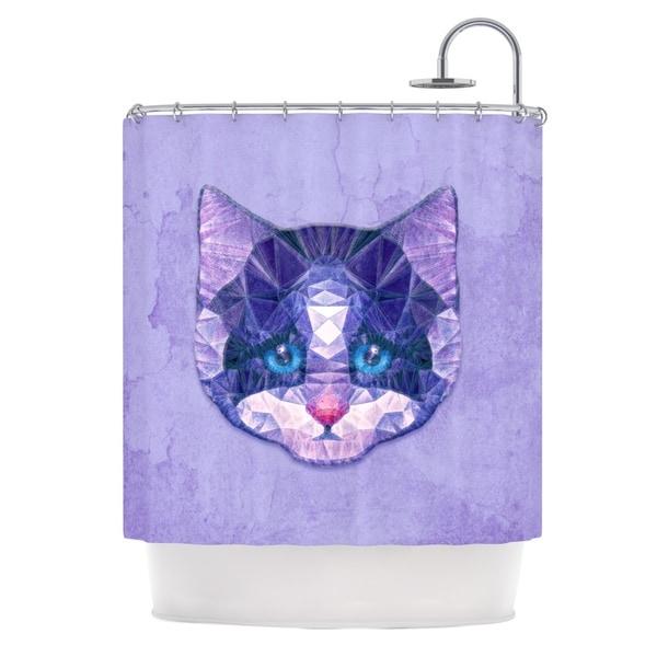 KESS InHouse Ancello Cute Kitten Purple Cat Shower Curtain (69x70)