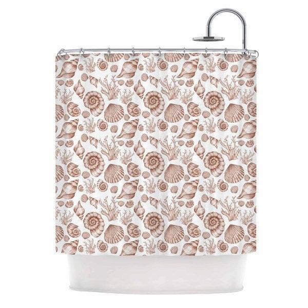 KESS InHouse Alisa Drukman Seashells Brown Nature Shower Curtain (69x70)