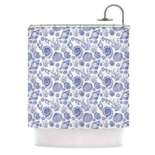 KESS InHouse Alisa Drukman Blue Seashells Coastal Abstract Shower Curtain (69x70)