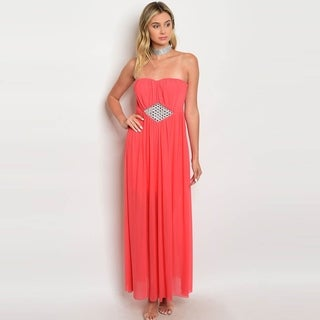 Shop The Trends Women's Strapless Chiffon Maxi Dress With Semi Sweetheart Neckline And Embellished Empire Waist