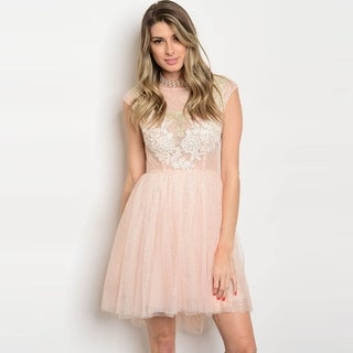 Shop The Trends Women's Cap Sleeve Babydoll Dress With Tulle Skirt And Round Neckline