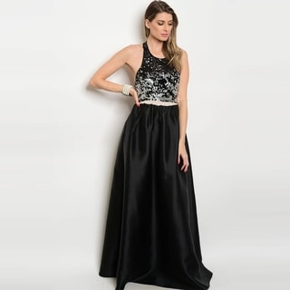 Shop The Trends Women's Sleeveless Taffeta Maxi Gown With Sequined Bodice And Open Back Design