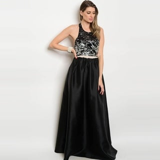 Shop The Trends Women's Sleeveless Taffeta Maxi Gown With Sequined Bodice And Open Back Design (2 options available)