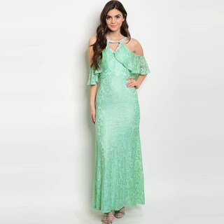Shop The Trends Women's Sleeveless Lace Gown With Keyhole Neckline And Cut Out Ruffle Shoulders (More options available)