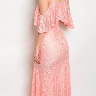 Shop The Trends Women's Sleeveless Lace Gown With Keyhole Neckline And Cut Out Ruffle Shoulders