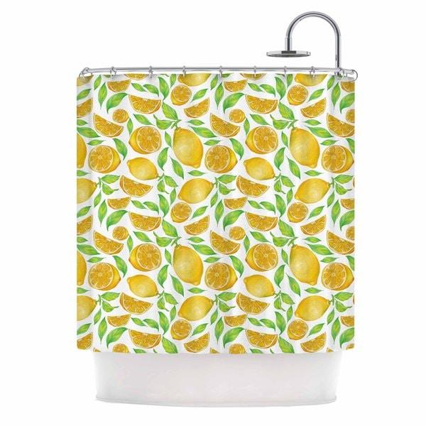 KESS InHouse Alisa Drukman Lemons Yellow Floral Shower Curtain (69x70)