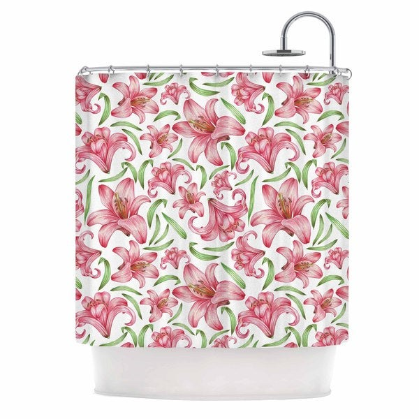 KESS InHouse Alisa Drukman Lily Flowers Pink Nature Shower Curtain (69x70)