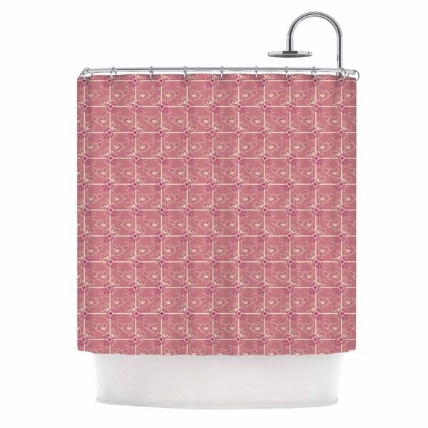 KESS InHouse Alisa Drukman Love/Love/Love Pink Abstract Shower Curtain (69x70)