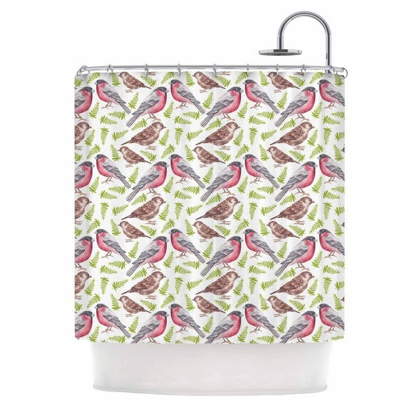KESS InHouse Alisa Drukman Sparrow And Bullfinch Pink Green Shower Curtain (69x70)