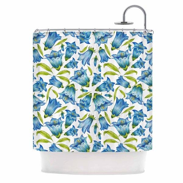 "KESS InHouse Alisa Drukman ""Campanula"" Floral Blue Shower Curtain (69x70) - 69 x 70"