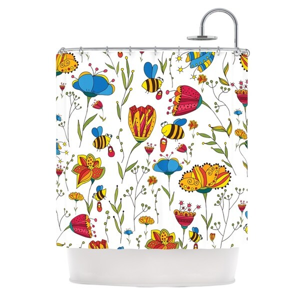 KESS InHouse Alisa Drukman Bees Multicolor Shower Curtain (69x70)