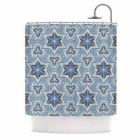 KESS InHouse Angelo Cerantola Astral Beige Blue Shower Curtain (69x70)