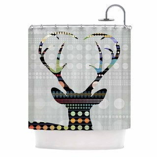 KESS InHouse Angelo Cerantola Pop Deer Grey Black Shower Curtain (69x70)