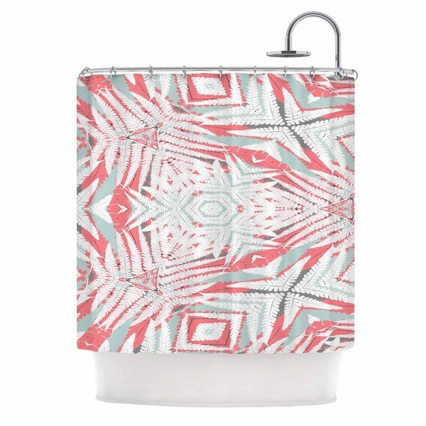 KESS InHouse Alison Coxon Planthouse Raspberry Coral Gray Shower Curtain (69x70)