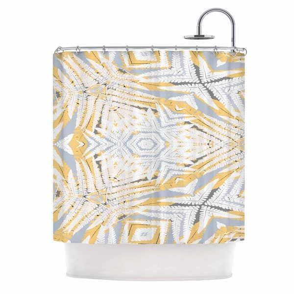 KESS InHouse Alison Coxon Planthouse Saffron Yellow Gray Shower Curtain (69x70)