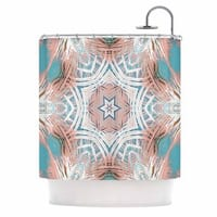 KESS InHouse Alison Coxon Tribe Coral And Teal  Blue White Shower Curtain (69x70)
