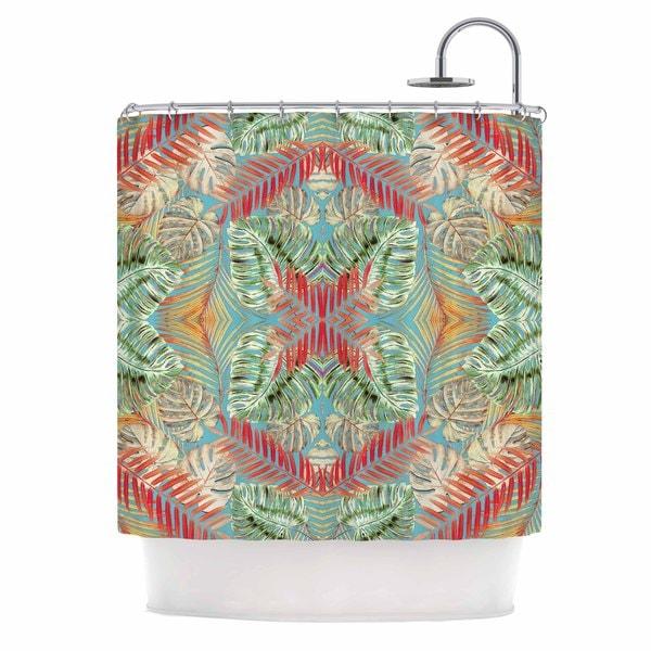 KESS InHouse Alison Coxson Summer Jungle Love Blue  Red Aqua Shower Curtain (69x70)
