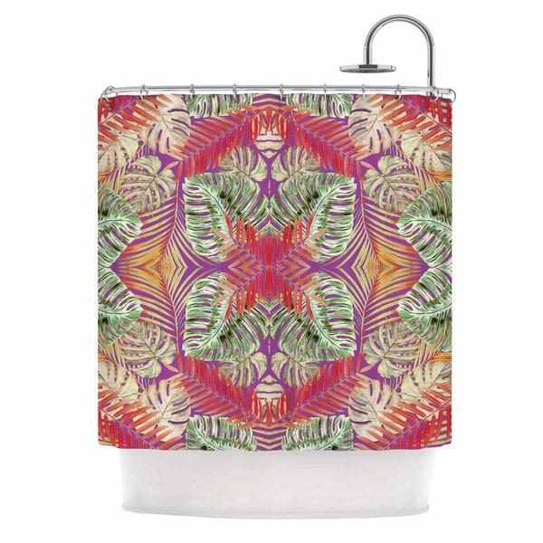 KESS InHouse Alison Coxson Summer Jungle Love Purple Green Red Shower Curtain (69x70)