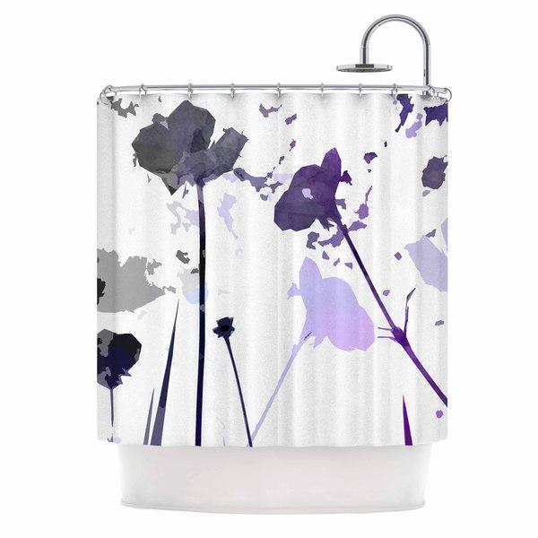 KESS InHouse Alison Coxon Poppies Indigo Purple Black Shower Curtain 69x70